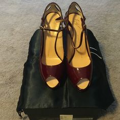 🎉🎊3X HP🎊🎉 Giuseppe Zanotti Heels Giuseppe Zanotti heels. NIB. Burgundy in color but they call it brown. Peep toe. Strap around ankle. Stunning 👠 size 37.5 but runs small. Comes with box and dust bag. PRICE IS FIRM Giuseppe Zanotti Shoes Heels
