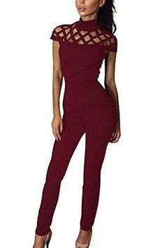 Aro Lora Women's Cut Out Caged High Neck Collar Bodaycon Jumpsuit Medium Wine Red