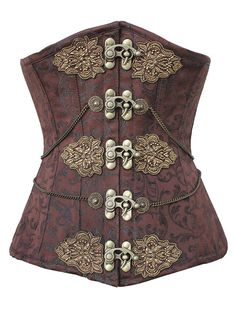 Steampunk brown underbust corset from victoriandreams.nl. Front view.