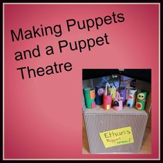 Making puppets and a puppet theatre with toilet roll tubes, a big cardboard box and craft supplies! Construction Paper Projects, Crafts To Do, Crafts For Kids, Puppet Tutorial, Puppet Theatre, Sock Puppets, Preschool Projects, Puppet Making, Baby Art