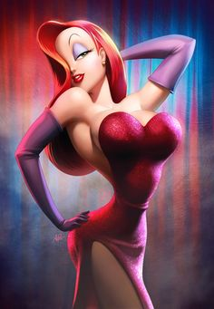 "jessica rabbit, the woman in red from the movie ""who framed roger rabbit""."