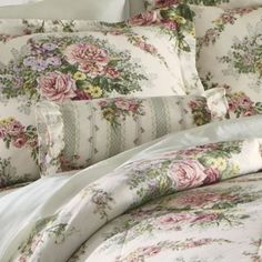 Cottage Rose Comforter Set, Window Treatments, Pillow and Shower Curtain Rose Comforter, Bedroom Comforter Sets, King Size Comforter Sets, King Size Comforters, Floral Comforter, Shabby Chic Bedrooms, Shabby Chic Decor, Draps Design, Beautiful Bedding Sets