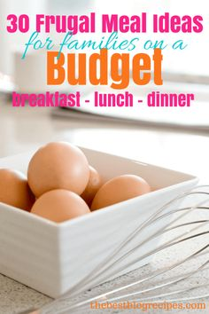 Trying to save money and make your grocery budget go a little bit farther each week? Check out this list of 30 Frugal Meal Ideas for Families on a Budget for recipes that will help save your family money! freezer meal ideas save money on groceries Breakfast On A Budget, Breakfast Lunch Dinner, Budget Meal Planning, Cooking On A Budget, Cooking Tips, Financial Planning, Frugal Meals, Budget Meals, Budget Recipes
