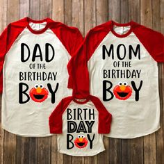 Please add all sizes to notes to seller portion of the order- EXAMPLE- DAD XL BLACK SLEEVE / MOM SMALL BLK SLEEVES / BOY 4T RED SLEEVES ALL ADULT RAGLANS ARE UNISEX AND WOMEN ARE RECOMMENDED TO SIZE DOWN! Elmo birthday shirt, elmo birthday party, elmo matching shirts, elmo mom, elmo