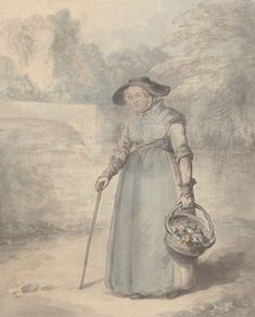 Edward Edwards, 1738–1806, British, Old Lady with Basket of flowers, ca. 1760, Watercolor, gray wash, pen, gray ink, and graphite on medium, slightly textured, cream wove paper, Yale Center for British Art, Paul Mellon Collection