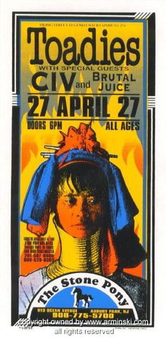1996 Toadies w/ CIV Concert Handbill by Mark Arminski (MA-9614)