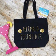 Mermaid Essentials Beach Bag. Mermaid Tote Bag. Mermaid Bag. Market Tote. Organic Cotton Bag. Shopping Bag. Bag For Life. by SoPinkUK on Etsy