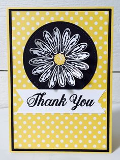 handmade thank you card using Daisy Delight bundle by Stampin' Up! ... yellow with black and white ... nice and bright!