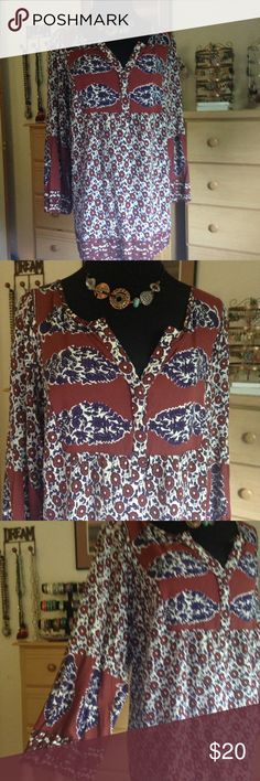 Like NEW 2x Boho Purple & Burgundy Top Like New. Adorable smock type style perfect for my fellow Boho girls! Festival worthy.  Bust flat 25, length 27 Necklace with Matching earrings sold separately Lucky Brand Tops