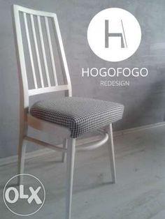 """299 zł: Piękne drewniane krzesło z lat 60 pochodzące z Gościcińskiej Fabryki Mebli. Lite, bukowe drewno w doskonałym stanie, odnowione recznie -  pokryte matową farbą w kolorze """"Old White"""". Wygodne siedzisko ..."""