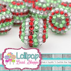 20mm Red, Green & Silver Stripe Rhinestone Beads Christmas Bumpy Pave Bling Chunky Beads Resin Berry Beads Bubblegum Beads Gumball Beads by LollipopBeadShoppe