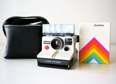 Polaroid onestep rainbow, camera w instruction booklet, Polaroid bag Vintage Polaroid Camera, Polaroid One Step, Clothespin Bag, Impossible Project, Instant Camera, Booklet, Rainbow, Wooden Clothespins, How To Wear