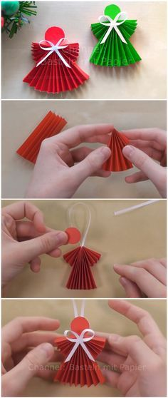 DIY Easy Paper Angel Artificial fir tree as Christmas decoration? An artificial Christmas Tree or perhaps a real one? Christmas Angel Crafts, Christmas Decorations For Kids, Paper Christmas Ornaments, Christmas Origami, Diy Christmas Tree, Simple Christmas, Paper Angels Diy, Diy Angels, Diy Papier