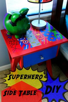 Thrift Table Makeover - Superhero Side Table DIY Turn a thrift store side table into the perfect comic book addition for any boys room! My son loves his superhero table now, and it's a great pop of color in his bedroom! Avengers Room, Marvel Room, Kids Decor, Diy Room Decor, Decor Ideas, Bedroom Decor, Superhero Room, Man Room, Diy Table