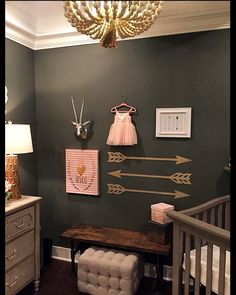 Baby girls nursery. Arrows, Metallic, pink, mint, chandelier, pottery barn, wall collage