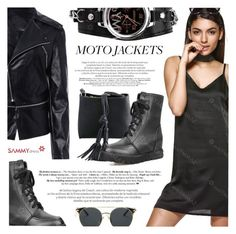 """""""After Dark: Moto Jackets"""" by defivirda ❤ liked on Polyvore featuring vintage"""