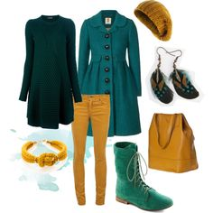 """Mustard & Teal leisure"" by lapetiteamelie on Polyvore"