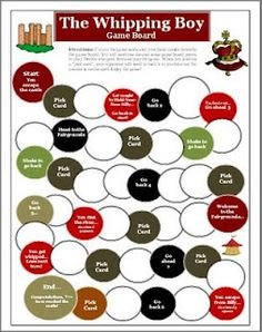WISE GUYS TEACHING RESOURCES: The Whipping Boy by Sid Fleischman Game Board Activity