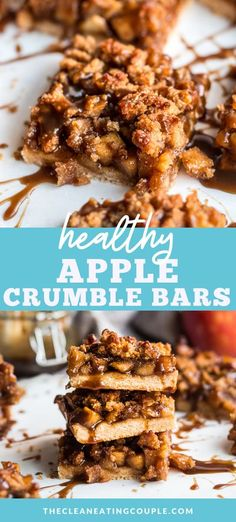 Healthy Apple Crumble Bars are the best fall dessert. They taste just like apple pie in a bar! Paleo, gluten free and dairy free these delicious bars are a must try. They even have an optional paleo caramel sauce that is SO easy to make. Grain free and delicious!