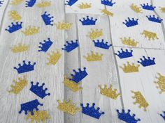 Baby Boy Birthday Party, Baby Shower decorations. Royal Blue and Gold Crown Confetti, Little Prince Decor, Royal Prince Party, Little Prince Shower by Tillymintandmeparty on Etsy