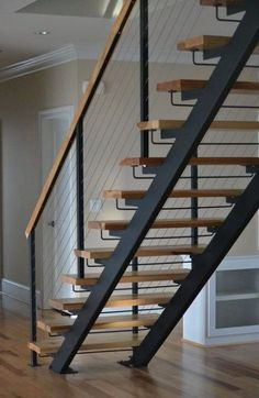 30 Beautiful Metal Stairs Ideas In 2019 Browse photos of staircases and discover design and layout ideas to inspire your own staircase remodel, including unique railings and storage options. Wood Railings For Stairs, Metal Stairs, Open Stairs, Concrete Stairs, Floating Stairs, Painted Stairs, Open Basement Stairs, Basement Ideas, Modern Staircase Railing