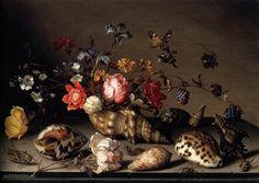 Schilderij Stilleven met bloemen, schelpen en insecten