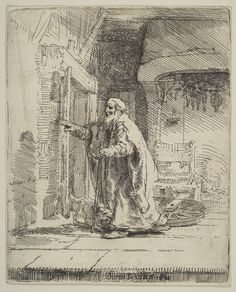 Rembrandt (Rembrandt Harmenszoon van Rijn), 1606-1669, Dutch, The Blindness of Tobit, 1651.  Etching with touches of drypoint; first state of two.  Metropolitan Museum of Art, New York. Dutch Golden Age, Baroque.