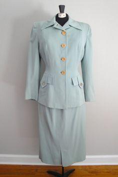 Vintage 1940s 40s Gabardine Womens Suit with by littlestarsvintage, $152.00