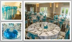 Teal colour schemed venue dressing. Teal organza sashes. You can hire venue dressing like this at Natalija.Co Event Planning, find us on facebook, or visit our website, www.natalija.co.uk