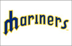 Seattle Mariners Jersey Logo (1977) - Mariners in blue outlined in yellow on white, worn on Mariners home jerseys from 1977 through 1980