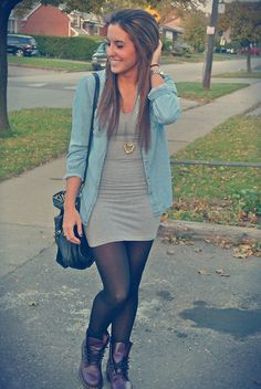 chambray + bodycon + combat boots