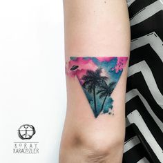 • N O W • V I S I T O R S • I N • B A H A M A S •  #bahamas #visitors #palmtree #summer #triangle #triangletattoo #clouds #sky #abstract #abstracttattoo #watercolor #watercolortattoo #koraykaragozler #koray_karagozler (Belgrade, Serbia)