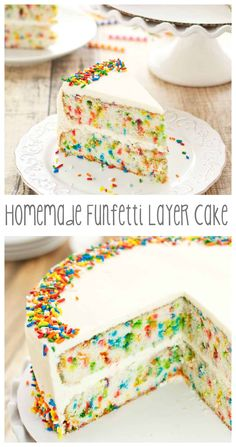 """ADD a Border of Sprinkles to your Cake for a """"Fun"""" Funfetti Cake look, as seen on this Funfetti Layer Cake. Just Desserts, Delicious Desserts, Dessert Recipes, Yummy Food, Layer Cake Recipes, Layer Cakes, Poke Cakes, Homemade Cakes, Funfetti Cake Homemade"""