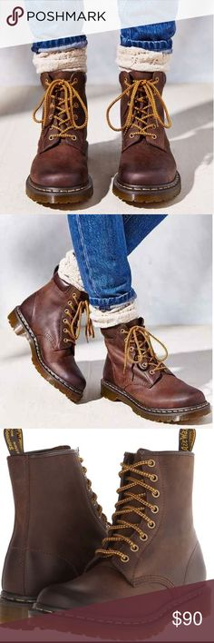 Brown doc martens☕️ Super cute! Great in any season! Style them up or down:) love these boots! They are very comfy. Only been worn approximately 3 times doc martens Shoes Lace Up Boots