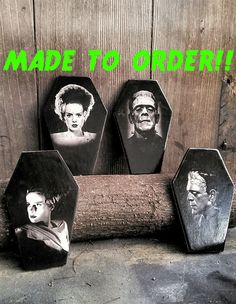 Frankenstein's Monster and Bride of Frankenstein Coffin Coasters MADE TO ORDER by LifeAfterDeathDesign on Etsy https://www.etsy.com/listing/280425628/frankensteins-monster-and-bride-of