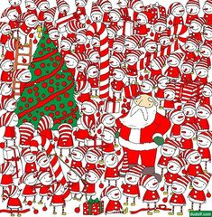 Unartista esconde ensus ilustraciones objetos tan simpáticos que esimposible noencontrarlos Christmas Quiz, Christmas Games, Christmas Crafts, Xmas, Hidden Images, Hidden Pictures, Find Santa, Brain Teasers, Santa Hat
