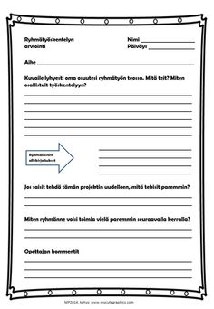 Ryhmätyön arviointia (in Finnish) by Maria Pernu Student Self Assessment, Formative Assessment, Teaching Schools, Teaching Social Studies, Teacher Notes, Study Skills, Group Work, School Classroom, Rubrics