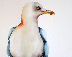 uccello dell'acquerello pittura arte dell'uccello per acquerello originale casa di spiaggia Gabbiano da Betty Moore