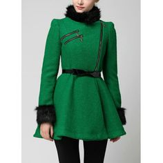 Stylish Stand Collar Long Sleeve Fake Fur Embellished Ruffle Coat For Women, GREEN, S in Jackets & Coats | DressLily.com