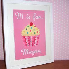 Button cupcake design cute for a little girl's room/nursery