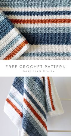 Free Pattern - Crochet Country Blue Stripes Baby Blanket Free easy to read crochet pattern with video tutorial. This uses a half double crochet cluster stitch and double crochet with a herringbone stitch border. Crochet Simple, Free Crochet, Knit Crochet, Crotchet, Doilies Crochet, Crochet Quilt, Free Knitting, Crochet Demi Double, Crochet Crafts
