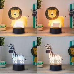 2-in-1 Lion & Zebra USB Children's Light   Lights4fun.co.uk Night Light, Light Up, Acrylic Shapes, Light Table, Lion, Usb, Indoor, Bedside Tables, Zebras