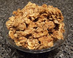 Overnight Granola - 7 c old fashioned oats, 1/2 c brown sugar, 1/2 c canola oil, 1/2 c honey, 2 t vanilla, 2 t cinnamon, 1/4 t salt. Combine brown sugar, oil, and honey. Microwave 1 1/2 min; stir.  Add vanilla and cinnamon.  Pour over oats and stir; sprinkle with 1/4 tsp salt.  Spread oats on a parchment lined cookie sheet.  Place in oven at 375 degrees. Turn oven off after 10 minutes.  In the morning, remove pan from oven and break up granola. Store in airtight container or large ziploc…