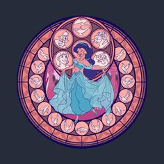 Disney's Aladdin t-shirt in the style of the stained glass from Kingdom Hearts. This t-shirt was designed by Nicole Graham. Walt Disney, Disney Magic, Heroes Disney, Disney Princes, Disney Fan Art, Disney Love, Disney And Dreamworks, Disney Pixar, Disney Stained Glass