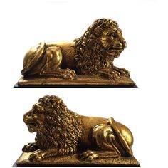 PAIR Vintage Borghese Lion Bookends Cast Plaster Gilt Finish ($190) ❤ liked on Polyvore featuring home, home decor, vintage home decor and vintage home accessories