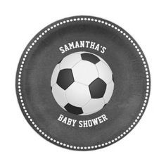 Custom Chalkboard SOCCER Baby Shower Paper Paper Plate - diy cyo customize create your own personalize