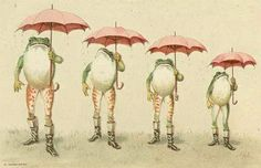 Frogs Umbrellas Vintage Childrens Illustration Birmingham Library archive.  Yes, well, the boots strike me much more than the umbrellas...