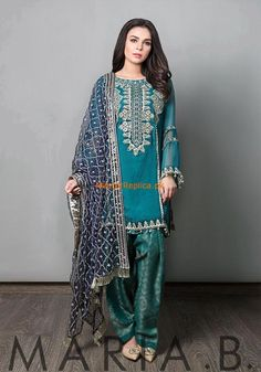 Maria B Suit Green Evening Wear 2017 Price in Pakistan famous brand online shopping, luxury embroidered suit now in buy online & shipping wide nation. Shadi Dresses, Pakistani Formal Dresses, Pakistani Party Wear, Pakistani Couture, Pakistani Wedding Outfits, Pakistani Dress Design, Indian Dresses, Indian Outfits, Fashion Dresses