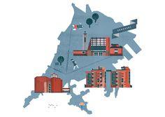 Helsinki Maps / Lotta Nieminen (http://www.lottanieminen.com/illustration/helsinki-maps/#)