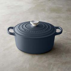 Le Creuset Signature Cast-Iron Round Dutch Oven, Anchor Grey, 3 1/2-Qt.